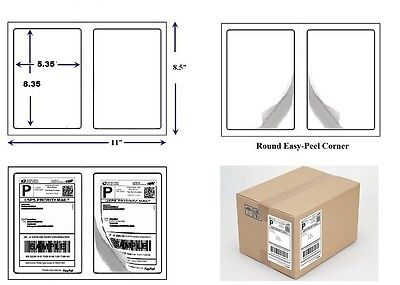 200 Quality Round Corner Shipping Labels 2 Per Sheet 8.5 X 5.5