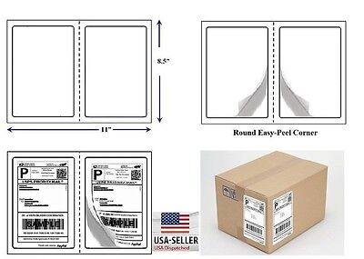600 Quality Round Corner Shipping Labels 2 Per Sheet 8.5 X 5.5