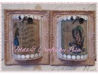 Shabby chic Alice in Wonderland frames in pink and gold.
