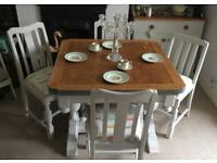 Shabby Chic Solid Oak Dining Table & Chairs