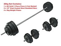 Weight Training Set Barbell - Curl Bar - Dumbbells - Plates From £30