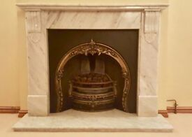 Beautiful cast iron fire place, gas fire & grey marble surround