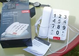 Corded desk phone with big buttons and speakerphone