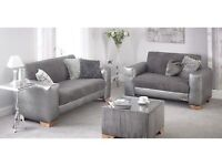 Grey faux leather and cord fabric 3 + 2 seater sofa + glass top coffee table