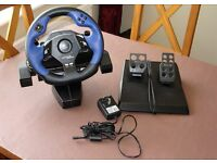 Logitech Force Feedback Driving Force steering wheel and pedals for Sony PS2.