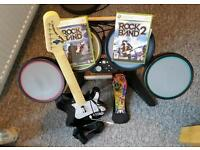 Rockband drums guitar and 2 games