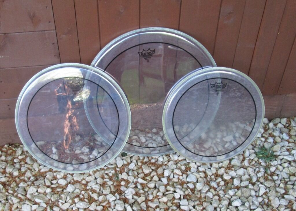 Drums - Remo Pinstripe Drum Heads Set - 16/13/12 - 3 Sets Available - All Very Good