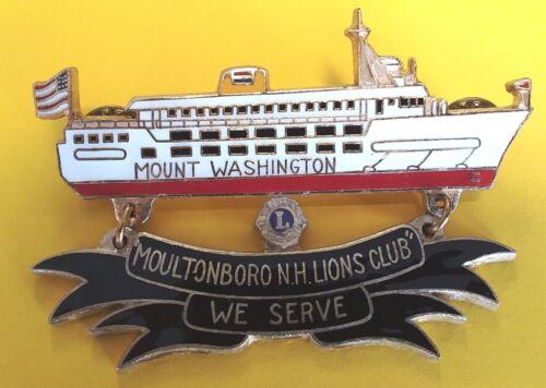 Lions Club Pin, NH Famous Mount Washington Ship, Moultonboro, Lake Winnipesaukee