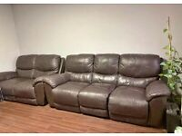Hickory Brown Reclining Leather Sofa - FREE DELIVERY