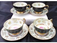 Vintage Royal Windsor 4 Tea cups and saucers pattern number 340/60