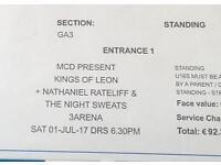 1 x Standing Ticket Kings Of Leon