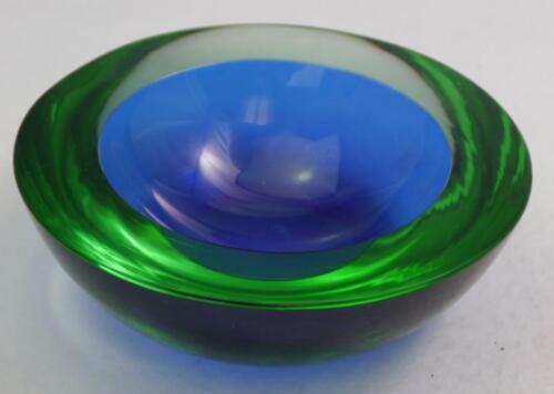 Vintage Murano Art Glass Geode Bowl Blue Yellow Green Uranium Sommerso 6 3/4
