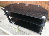 Black Glass TV Stand with shelves