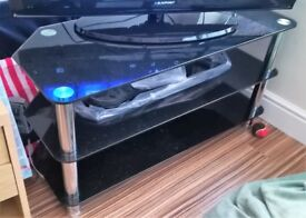 TV STAND - Black gloss glass and chrome