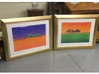 A pair of large framed Gerry Baptist prints - 'The Olive Grove' and 'The Vineyard'