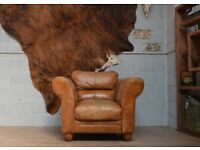 LEATHER VINTAGE ARMCHAIR TAN