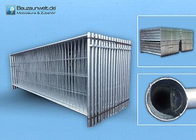 Bauzaun halbhoch 3,5 m x 1,2 m, Betonstein, Verbinder 5er Set