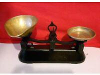 Vintage Kitchen Scales - R Reeves, Kirkwall, Leeds, With Brass Plate & Scoop