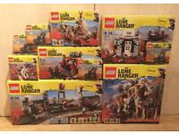 Various brand new sealed discontinued Lego Lone Ranger sets, including the Constitution Train Chase