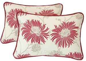 Pair of Laura Ashley' Kimono' Cranberry Piped Cushions