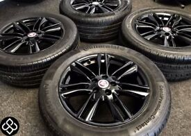 "NEW GENUINE JAGUAR XK XF 17"" ALLOY WHEELS & TYRES- 5 X 108 - 235 55 17 - Crystal Black - Wheel Smart"