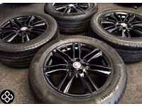 "NEW GENUINE JAGUAR XK XF 17"" ALLOY WHEELS & TYRES- 5 X 108 - 235 55 17 - Crystal Black - Wheel Smart"