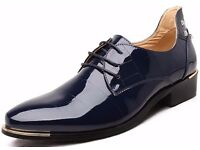 DADAWEN Men's Big Size Patent Leather Flats Lace-up Casual Shoes Size Uk10/Eur46