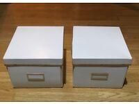 Set of 2 White Storage Boxes