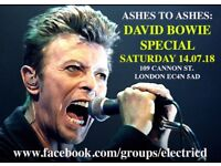 David Bowie club night : Ashes to Ashes special (14.07.18)