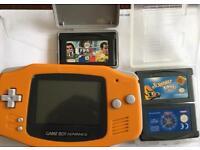 Orange Gameboy Advance & games