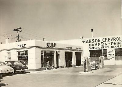VINTAGE 1949 GULF GAS OIL HANSON CHEVROLET PHOTO 5x7