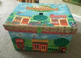 Happyland box filled with tain track and road set