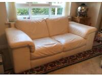 2 Seater Cream/ White Leather sofa