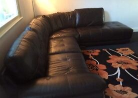 Leather Corner Unit - 6 Seater & pouffe (Built in docking station/wireless surround sound)