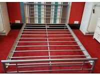 Ikea metal framed double bed and mattress