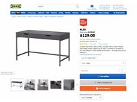 Slate Grey Ikea Desk - hidden cord compartment, two drawer