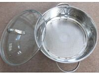LARGE STAINLESS CASSEROLE / ROASTING DISH WITH VENTED GLASS LID (SEE SPECS). BRAND NEW