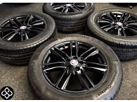 "NEW 17"" GENUINE JAGUAR XK XF ALLOY WHEELS WITH GREAT TYRES 235/55/17 - Gloss Black - Wheel Smart"