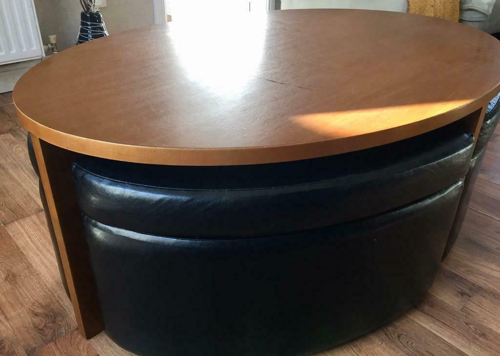 Leather And Wood Oval Coffee Table With Storage Seats In Basildon Essex Gumtree