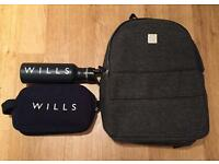 Brand new men's Jack Wills backpack. Also including brand new Jack Wills men's washbag and flask