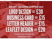 50% OFF SALE - Logo Design, Leaflet Design, Letter Headers, Business Cards - Graphics Designer