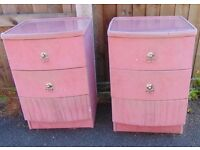 pair of matching dusty pink velour bedside cabinets