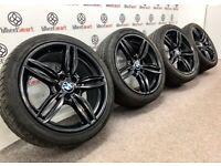"GENUINE 19"" BMW 5 SERIES MSPORT ALLOY WHEEL & TYRE PACKAGE - 5 X 120 - GLOSS BLACK"