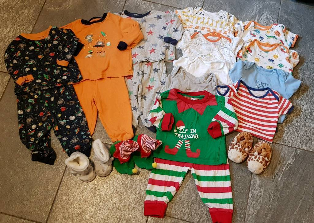 32f651064 9-12 months boys pj vests and slippers bundle