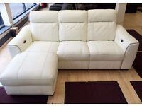 Furniture Village WHITE LEATHER ELECTRIC RECLINING SOFA, 3 Seater + LHF Chaise + FREE LOCAL DELIVERY