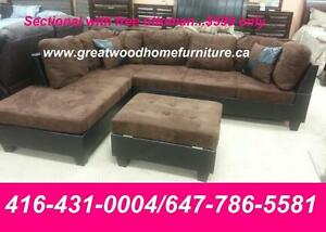 BRAND NEW SECTIONAL SOFA WITH STORAGE OTTOMAN..$549