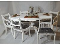 Shabby Chic Italian Dining Table & 6 Chairs Silver Grey Velvet