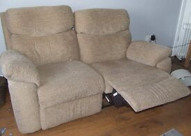 Beige reclining upholstered 2 seater settee and armchair
