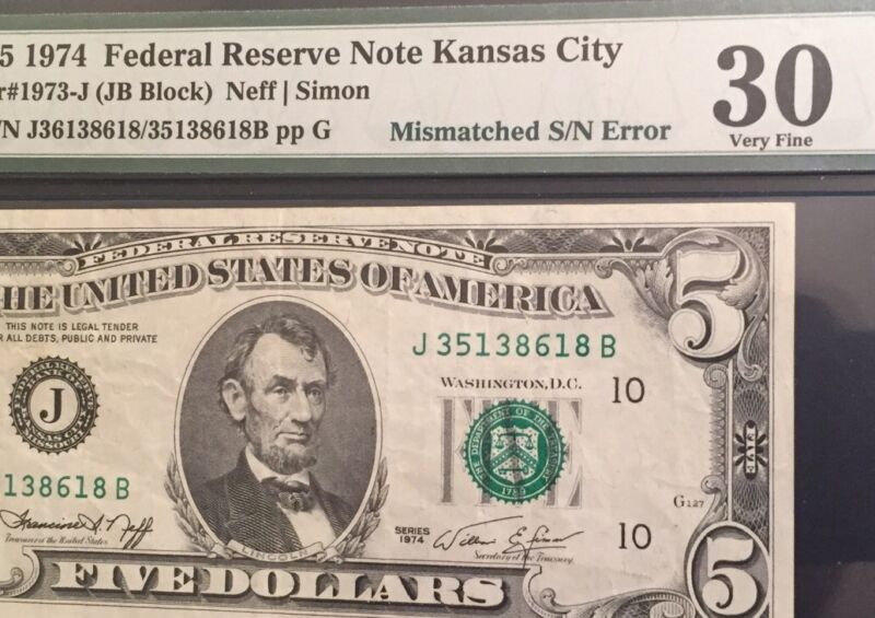 1974 $5 Mismatched Serial number Error VERY FINE PMG30 8618B