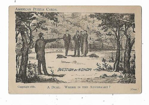 1880 American PUZZLE Trade Card Question Of Honor DUEL Welcome Soap Curtis Davis